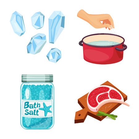 Vector illustration of salt and food. Set of salt and mineral stock symbol for web.