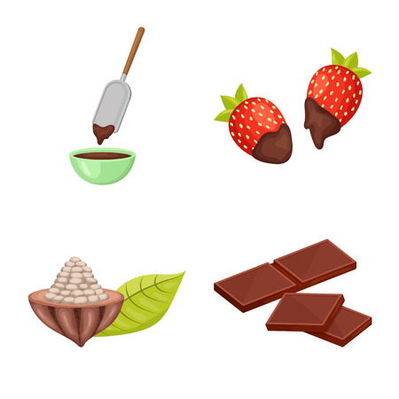 Isolated object of cocoa and beans symbol. Set of cocoa and sweetness stock symbol for web. 矢量图像