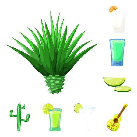 Vector illustration of Mexico and tequila sign. Set of Mexico and fiesta stock symbol for web. Reklamní fotografie - 122745000