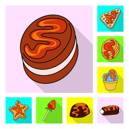 Vector illustration of confectionery and culinary symbol. Set of confectionery and colorful stock symbol for web.