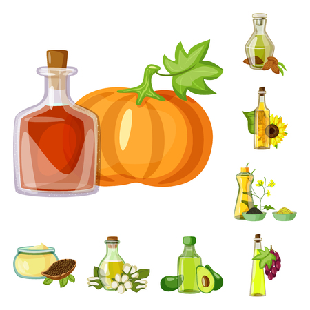 Vector illustration of bottle and glass icon. Set of bottle and agriculture stock symbol for web.