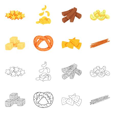 Vector illustration of Oktoberfest and bar sign. Set of Oktoberfest and cooking vector icon for stock. Ilustração