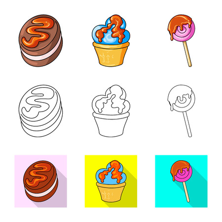 Vector illustration of confectionery and culinary icon. Collection of confectionery and product vector icon for stock. Иллюстрация