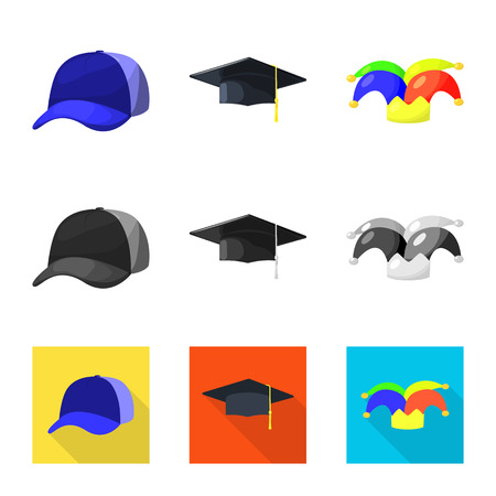 Vector illustration of clothing and cap sign. Collection of clothing and beret vector icon for stock. Illustration