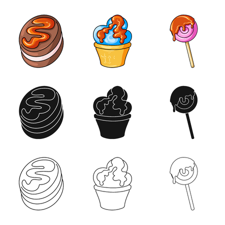 Vector illustration of confectionery and culinary logo. Set of confectionery and product stock symbol for web. ЛОГОТИПЫ