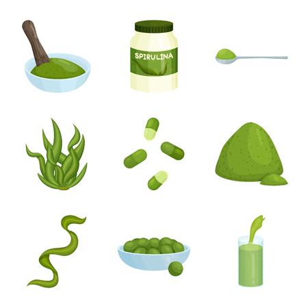 Vector illustration of spirulina and seaweed symbol. Collection of spirulina and vegan stock symbol for web. Standard-Bild - 121867302