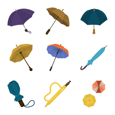 Isolated object of umbrella and rain symbol. Set of umbrella and weather stock symbol for web.