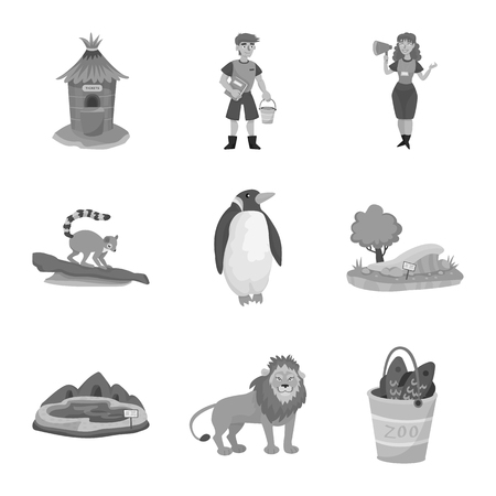 Vector illustration of zoo  and park. Collection of zoo  and animal vector icon for stock.