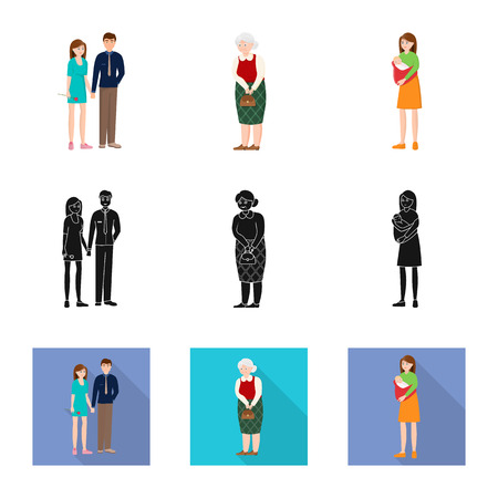 Vector design of character and avatar  logo. Collection of character and portrait stock symbol for web. Illustration