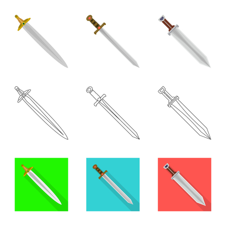 Vector design of game  and armor  icon. Collection of game  and blade  vector icon for stock.