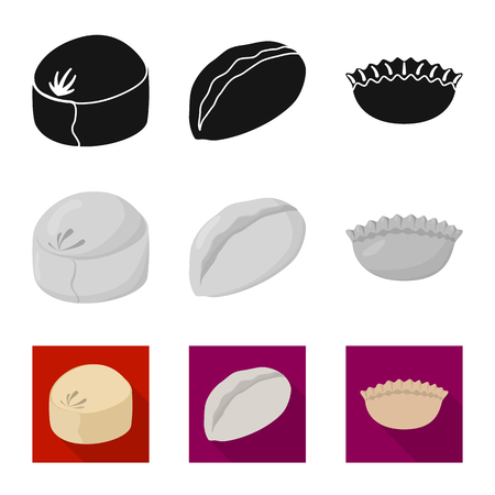 Vector illustration of products  and cooking symbol. Collection of products  and appetizer stock vector illustration. Illustration