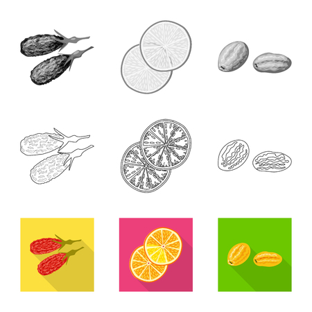 Vector illustration of food  and raw  logo. Set of food  and nature   vector icon for stock. Illustration