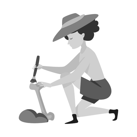 Isolated object of archaeologist  and girl icon. Set of archaeologist  and pit stock symbol for web.
