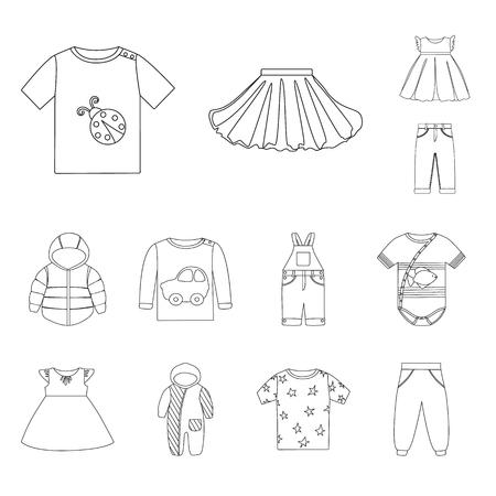 Isoliertes Abnutzungsobjekt und Kinderzeichen. Set von Abnutzungs- und Bekleidungsvektorsymbolen für Lager. Vektorgrafik