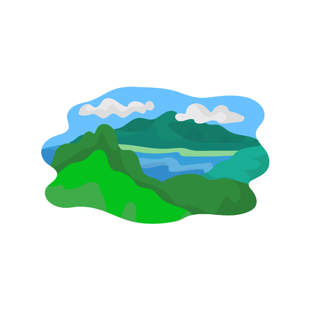 Vector illustration of mountain and lake sign. Collection of mountain and forest vector icon for stock.