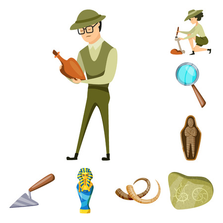 Vector design of archaeology  and historical icon. Collection of archaeology  and excavation stock symbol for web.
