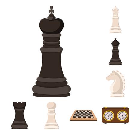 Isoliertes Objekt von Schach und Spiel. Sammlung von Schach- und Strategieaktiensymbolen für das Web.