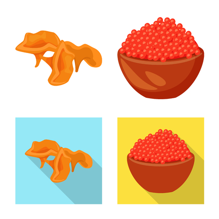 Vector illustration of taste and product symbol. Set of taste and cooking stock symbol for web. Archivio Fotografico - 121957464
