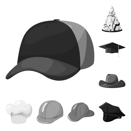 Vector design of hat and helmet symbol. Set of hat and profession stock symbol for web.