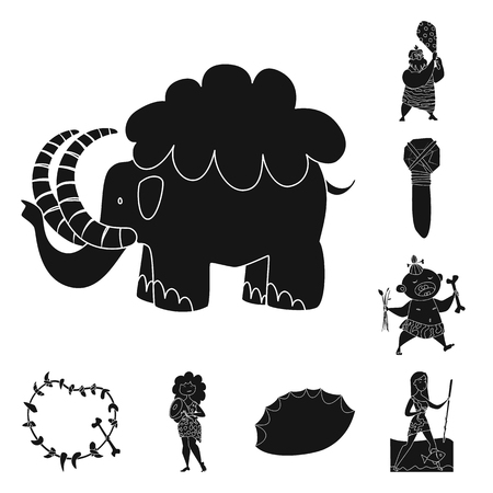 Vector illustration of sapiens and development  sign. Collection of sapiens and age stock symbol for web.