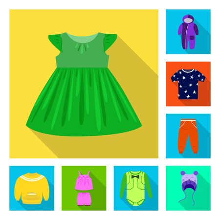 Isolated object of fashion and garment. Set of fashion and cotton stock vector illustration.