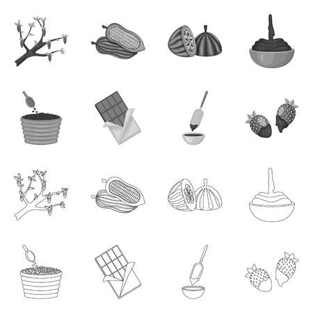 Isolated object of food and yummy symbol. Collection of food and brown   vector icon for stock. Illusztráció