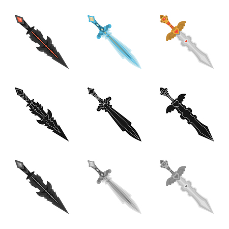 Isolated object of game  and armor. Set of game  and blade  vector icon for stock. Ilustração