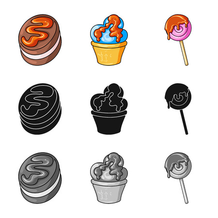Vector design of confectionery and culinary sign. Collection of confectionery and product stock symbol for web. Иллюстрация