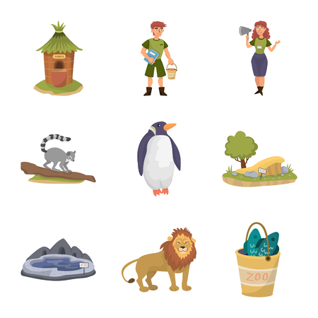 Vector illustration of zoo  and park symbol. Collection of zoo  and animal stock vector illustration.
