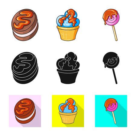 Vector illustration of confectionery and culinary sign. Collection of confectionery and product vector icon for stock. Векторная Иллюстрация