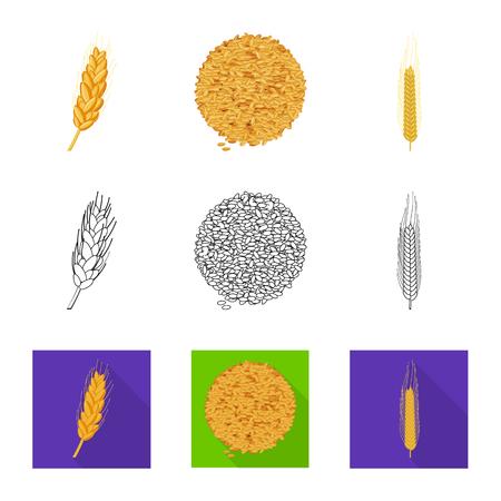 Ilustracja wektorowa rolnictwa i rolnictwa symbolu. Kolekcja ikon wektorowych rolnictwa i roślin na magazynie. Ilustracje wektorowe