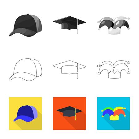 Vektordesign von Kleidung und Mützensymbol. Sammlung von Vektorillustrationen für Kleidung und Baskenmütze.