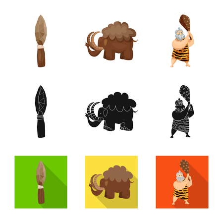 Vector illustration of evolution  and prehistory icon. Set of evolution  and development  stock vector illustration. Ilustração