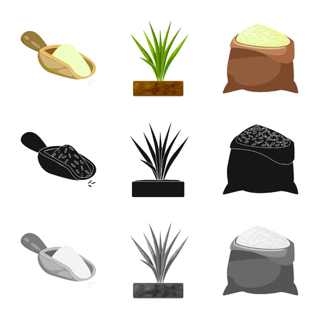 Vector illustration of crop and ecological symbol. Set of crop and cooking vector icon for stock.