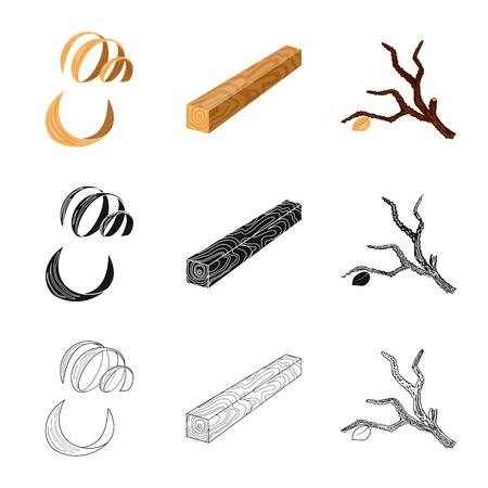 Isolated object of tree   and raw  sign. Collection of tree   and construction stock vector illustration. Vettoriali