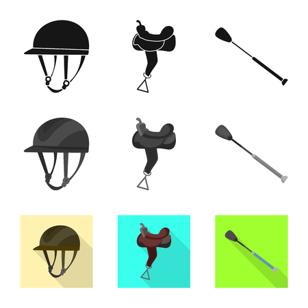 Vector design of equipment and riding icon. Set of equipment and competition vector icon for stock.