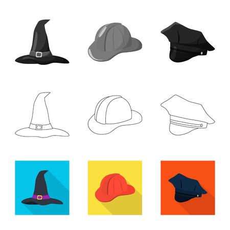 Vector illustration of clothing and cap sign. Collection of clothing and beret vector icon for stock. Ilustração
