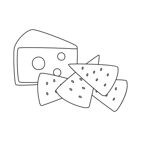 Vector illustration of cracker and appetizer  icon. Set of cracker and lactic stock symbol for web.