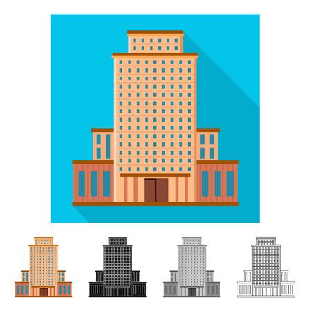 Oggetto isolato di hotel e simbolo alto. Set di illustrazione vettoriali stock hotel e turismo.