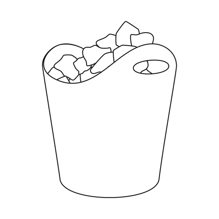 Vector illustration of bucket and ice symbol. Collection of bucket and crystal stock vector illustration.