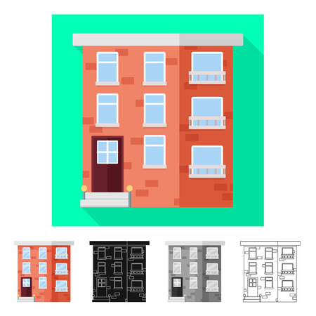 Vector illustration of house and brick   sign. Collection of house and police vector icon for stock. 版權商用圖片 - 122058392