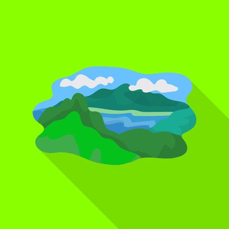Vector design of mountain and lake logo. Set of mountain and forest vector icon for stock.