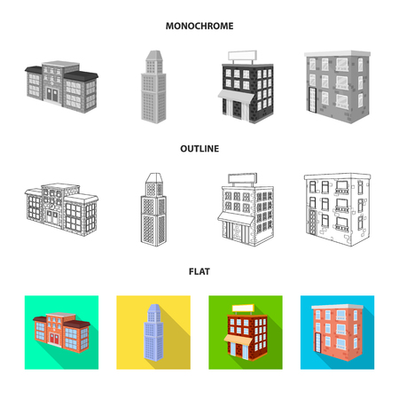Ilustración de vector de icono de construcción y edificación. Colección de ilustraciones vectoriales de construcción y bienes raíces. Ilustración de vector