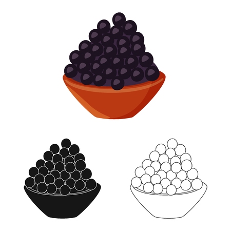 Isolated object of caviar  and black. Collection of caviar  and fish stock symbol for web.