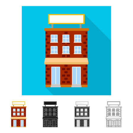 Vector illustration of house and brick sign. Collection of house and pane   stock symbol for web. Standard-Bild - 122058415