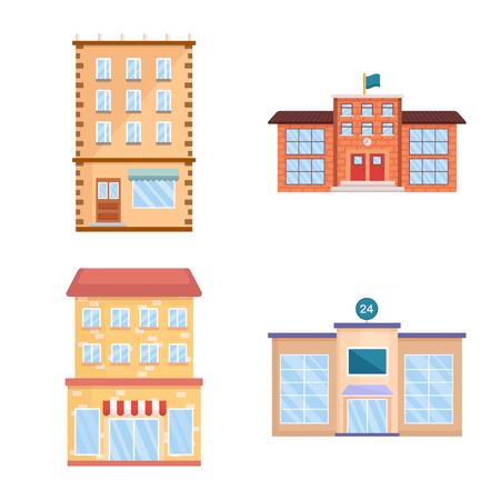 Vektordesign von Fassade und Gebäudesymbol. Satz von Fassaden- und Außenaktiensymbolen für das Web. Vektorgrafik