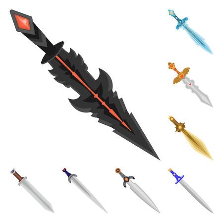 Vector design of sword  and dagger. Set of sword  and weapon stock vector illustration. Ilustração