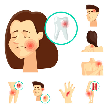 Vector design of pain and disease sign. Collection of pain and injury vector icon for stock. Illustration