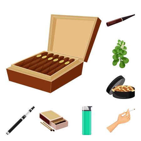 Vector illustration of cigarette and tobacco symbol. Set of cigarette and nicotine stock vector illustration.