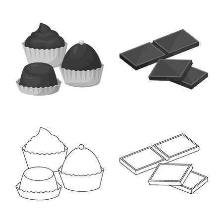 Vector illustration of food and yummy. Collection of food and brown vector icon for stock.